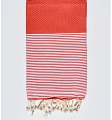 HONEYCOMB ochre red fouta with stripes