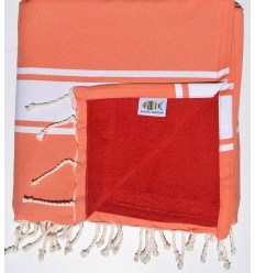 beach towel,doubled sponge almon and red