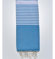 Cerulean blue striped throw