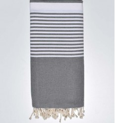 Medium grey striped throw
