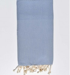 Plain honeycomb light blue grey fouta