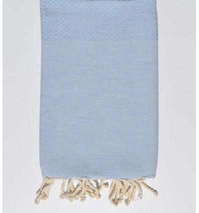 Serviette de plage nid d'abeille unie bleu pastel clair