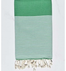 HONEYCOMB malachite green striped white fouta