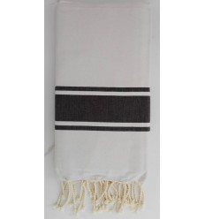 Flat white striped black fouta
