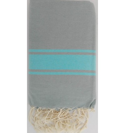 Flat sage green striped turquoise fouta