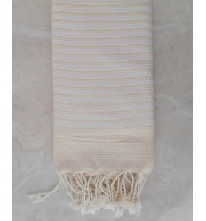 Honeycomb striped 1cm cream stripes fouta