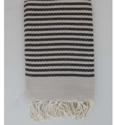 Honeycomb light beige striped 1cm black stripes fouta