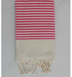 Honeycomb striped 1cm candy pink stripes fouta