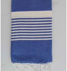 Blue denim with stripes throw