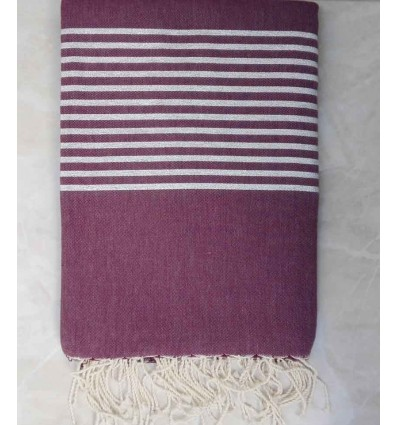 Mauve burgundy with silver lurex throw