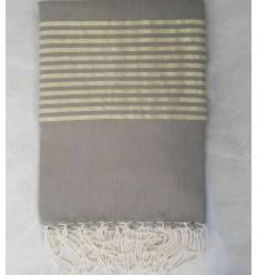 Khaki green with golden lurex throw