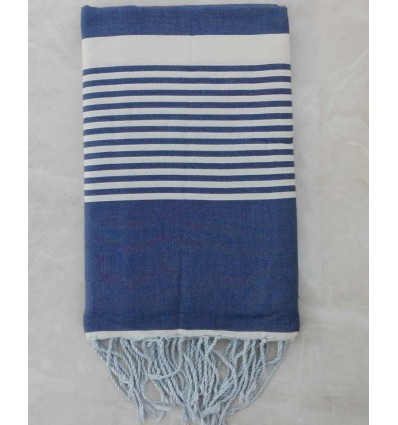 Woad blue with stripes throw