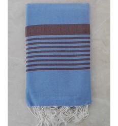 Royal blue striped brown throw fouta