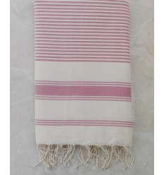 Light beige striped taffy pink throw