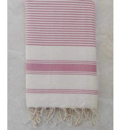 Light beige striped taffy pink throw