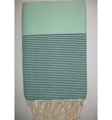 Honeycomb sage green striped British racing green fouta