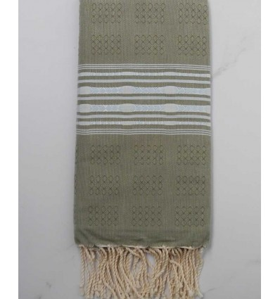 Thalasso sage green wtih blue patterns fouta