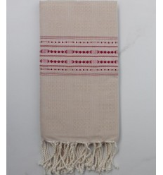 Thalasso beige with burgundy patterns fouta
