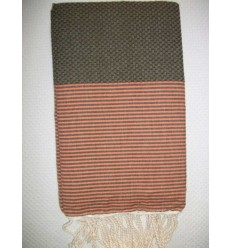Honeycomb brown striped coral pink fouta