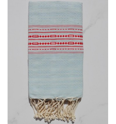 Thalasso sky blue with red patterns fouta