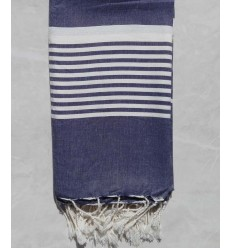 Blue grey horizon striped throw