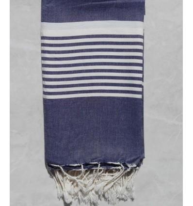 Blue grey horizon striped throw