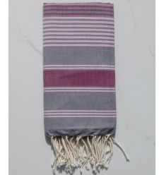 Dina lead grey striped pink and burgundy fouta