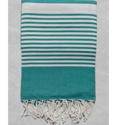 Malachite green striped white throw