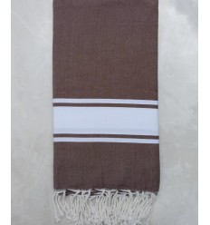 Brown striped white throw
