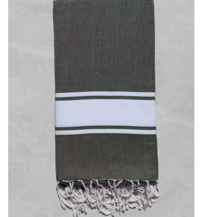 Arctic green striped white throw