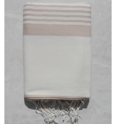 Creamy white striped beige throw