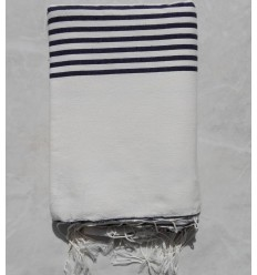 Creamy white striped black throw