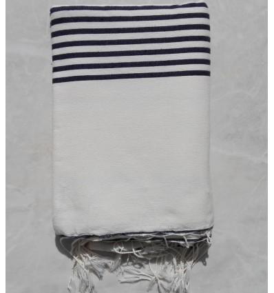 Creamy white striped black throw