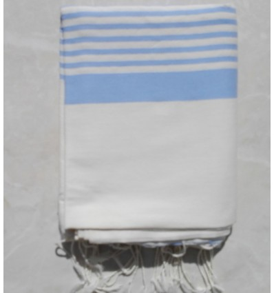 Creamy white striped royal blue throw