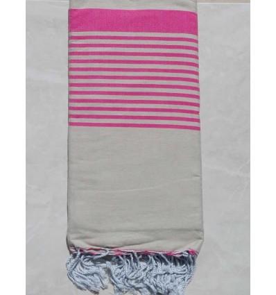 Beige striped pink throw