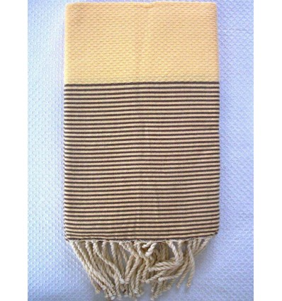 Honeycomb yellow cream striped brown fouta