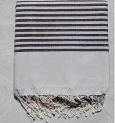 White striped dark gray throw