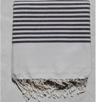 White striped dark gray throw