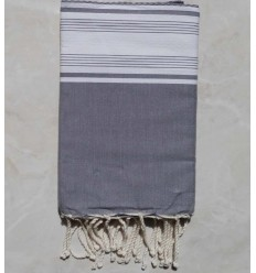 Honeycomb grey and white striped fouta