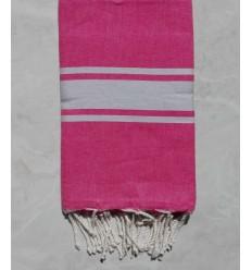 Flat pink striped light grey fouta