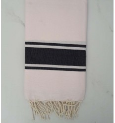 Flat light pink striped anthracite fouta