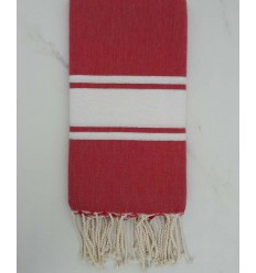 Carmine red striped white lurex fouta