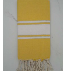 Yellow striped white lurex fouta