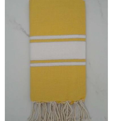 Yellow striped white lurex fouta