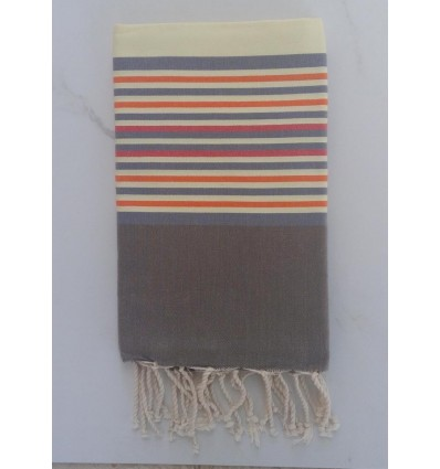 Flat light yellow and grey striped fouta