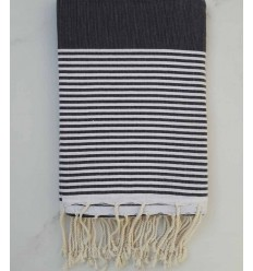 Flat grey striped white fouta