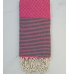 Honeycomb pink striped grey fouta