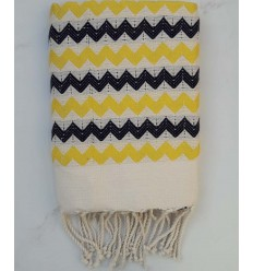 Zigzag ecru,yellow and black fouta