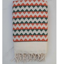 Zigzag creamy white ,orange and green fouta