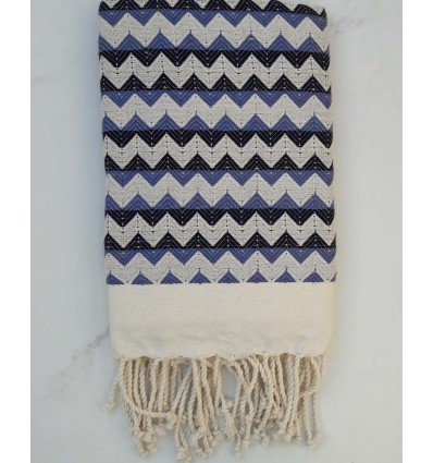 Zigzag creamy white ,turquin blue and black fouta